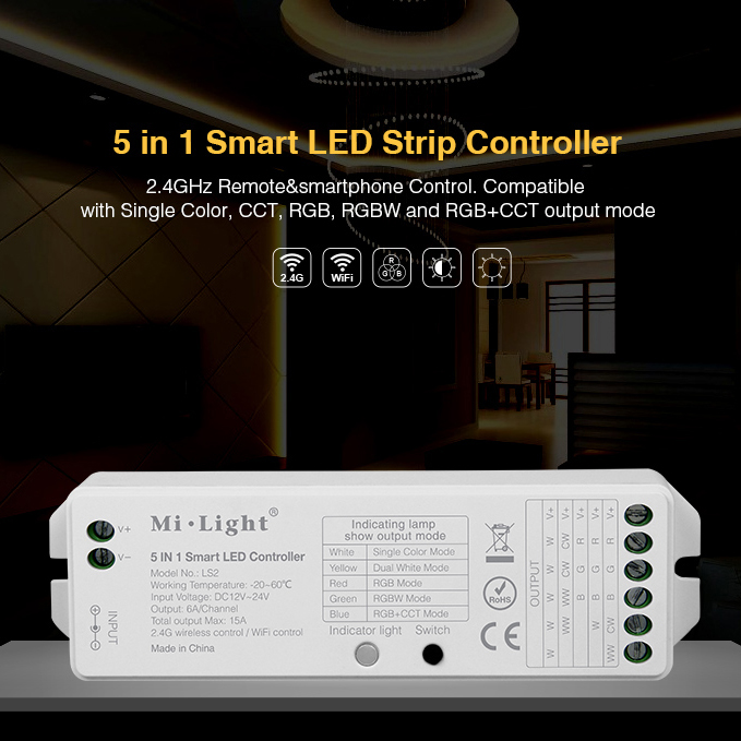 Контроллер Mi-Light LS2 P208 (Dimming/CCT/RGB/RGBW, 12V-180W, 24V-360W)